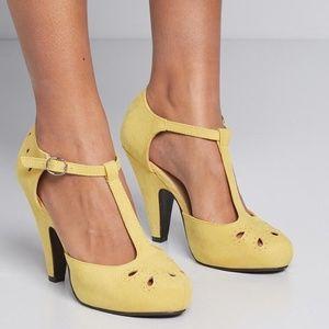 Modcloth The Zest is History Mustard Yellow Heels
